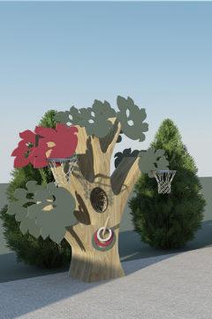 Дерево для метания, набрасывания, с баскетбольными корзинами