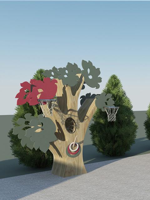 Баскетбольная стойка Дерево для метания и набрасывания